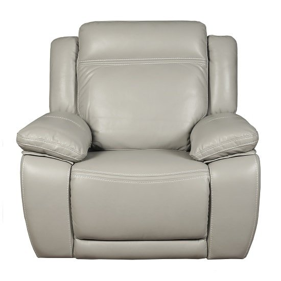 Baxter Recliner Sofa Chair In Light Grey Leather Air Fabric