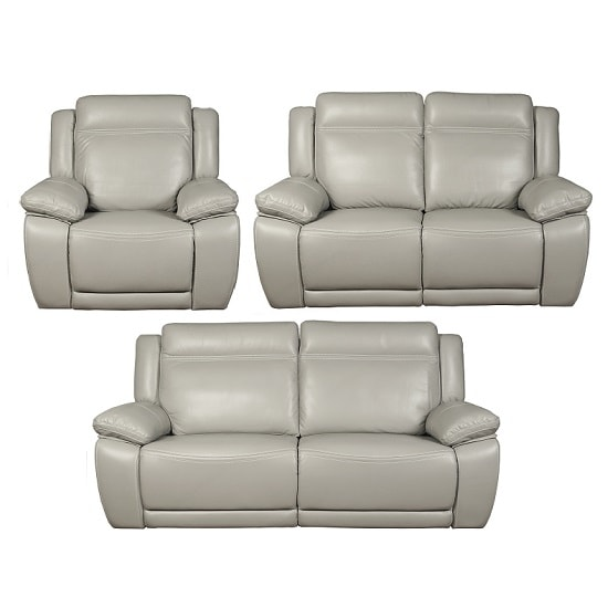 Baxter Recliner Sofa Suite In Light Grey Leather Air Fabric