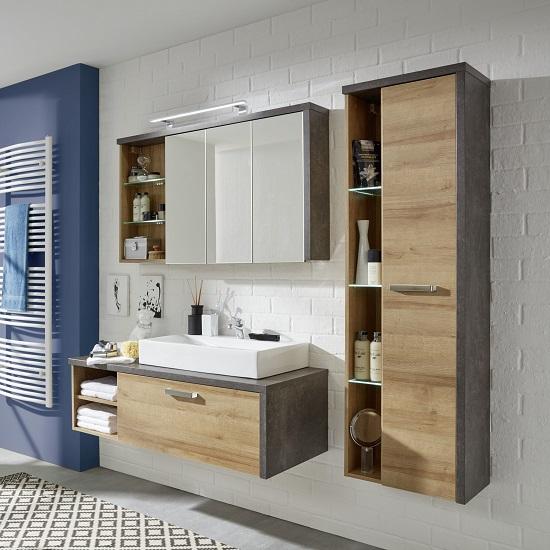 Bayern Bathroom Furniture Set In White And Acacia Dark With LED