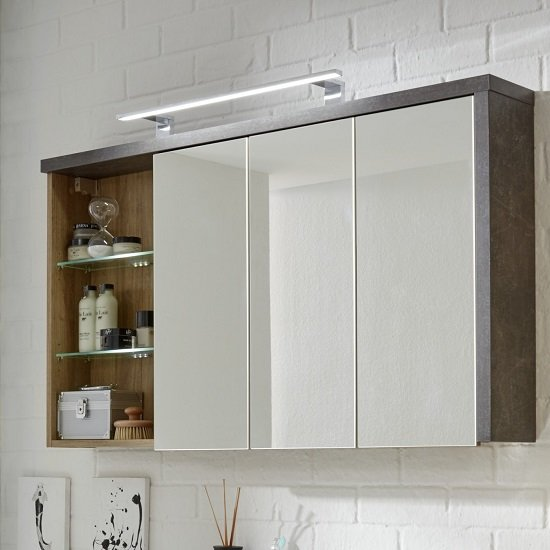 bayern wall mounted mirror cabinet in acacia dark with led
