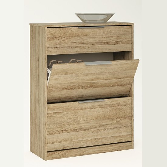 Bayern Shoe Cabinet In Brushed Oak With 2 Flap Doors