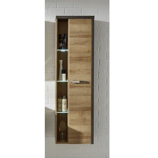 Bayern Wall Mounted Bathroom Cabinet In Acacia Dark With LED