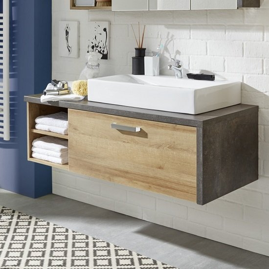 Bayern Wall Mounted Vanity Cabinet In Acacia Dark With Washbasin