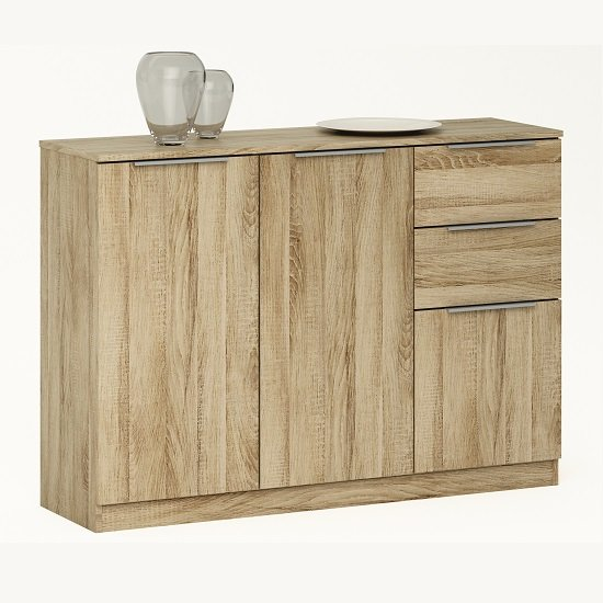 Bayern Sideboard Small In Brushed Oak With 2 Doors Drawers