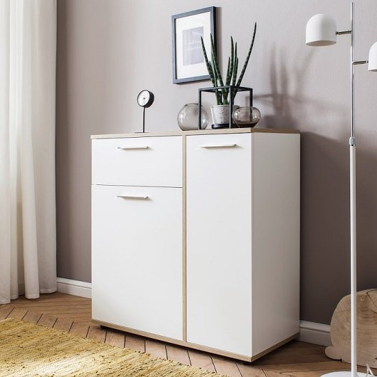 Bayley Wooden Compact Sideboard In White And Light Oak