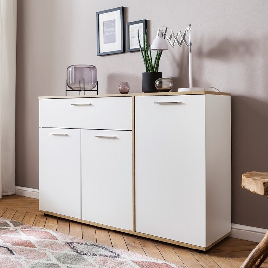 Bayley Wooden Sideboard In White And Light Oak With 3 Doors