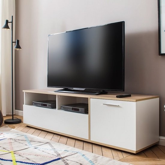 Bayley Wooden TV Stand In White And Light Oak With 1 Door