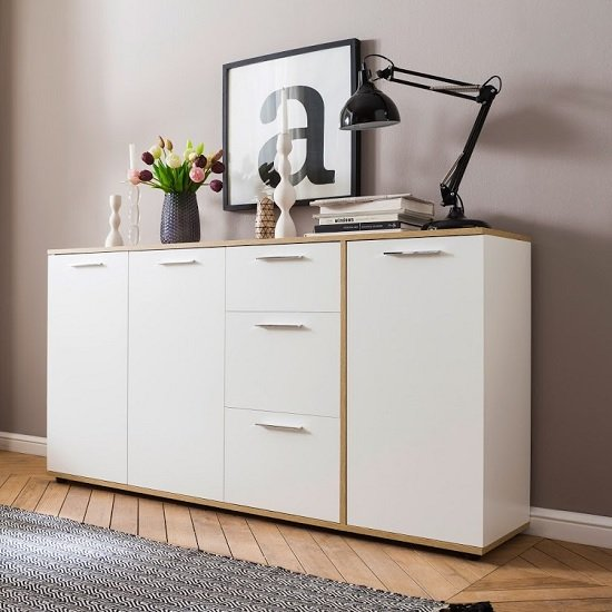 Bayley Wooden Sideboard Wide In White And Light Oak And 3 Doors