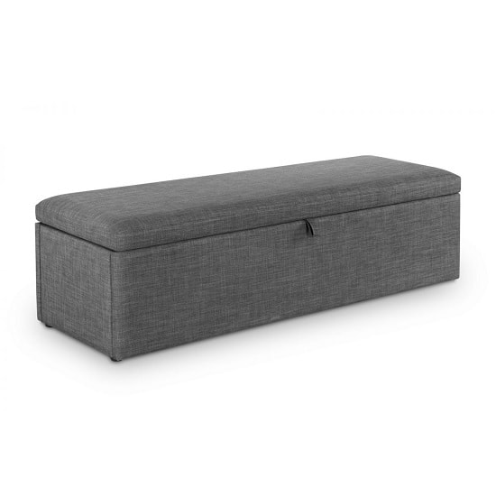 Baylin Contemporary Fabric Blanket Box In Slate Grey Linen