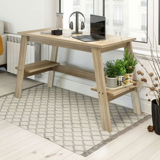 Baylor Wooden Trestle Laptop Desk In Sonoma Oak