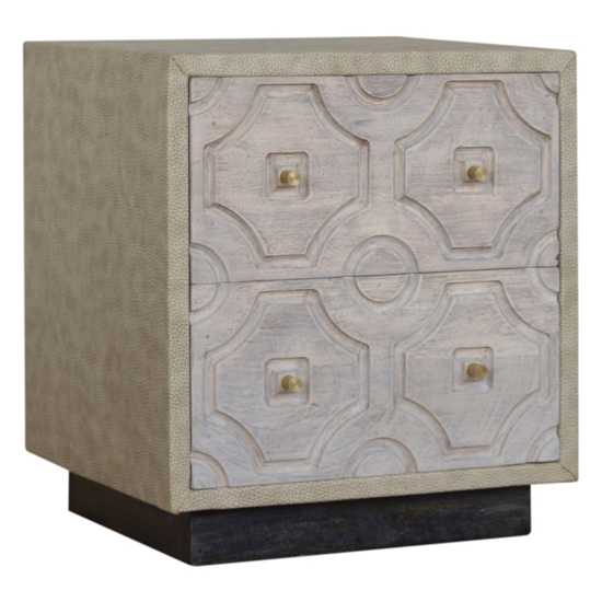 View Bazaar wooden bedside cabinet in acid wash and leatherite