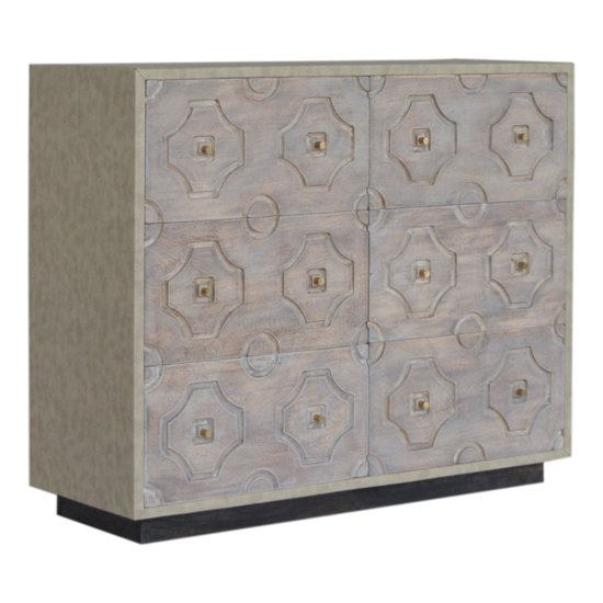 View Bazaar wooden chest of 6 drawers in acid wash and leatherite