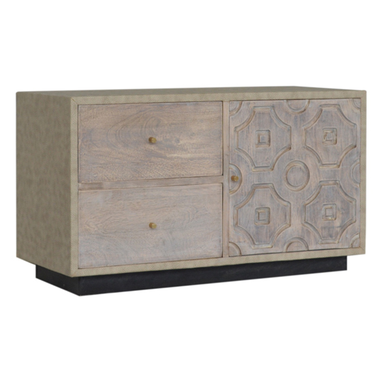 View Bazaar wooden tv sideboard in acid wash and leatherite
