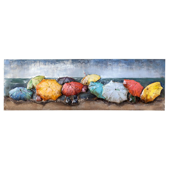 Beach of Parasols Picture Metal Wall Art In Multicolor And Blue