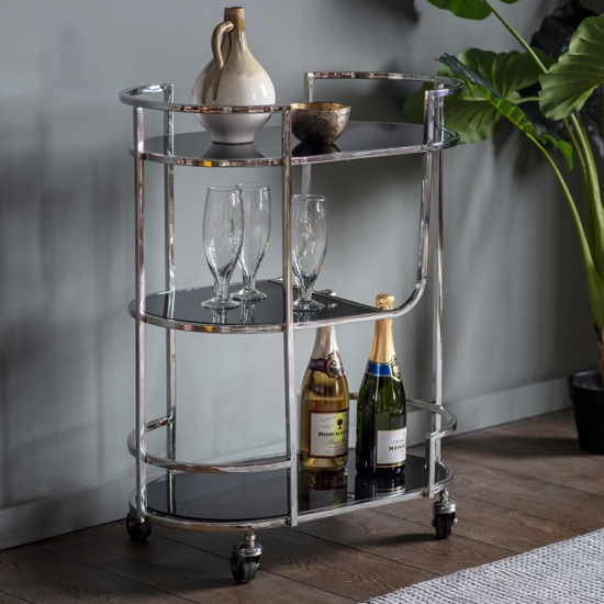 Beamp Black Glass Drinks Trolley In Silver