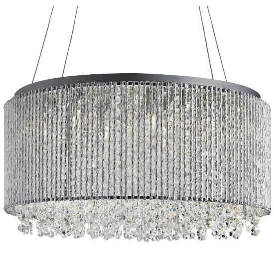 Beatty 8 Light Pendant In Chrome With Crystal Buttons