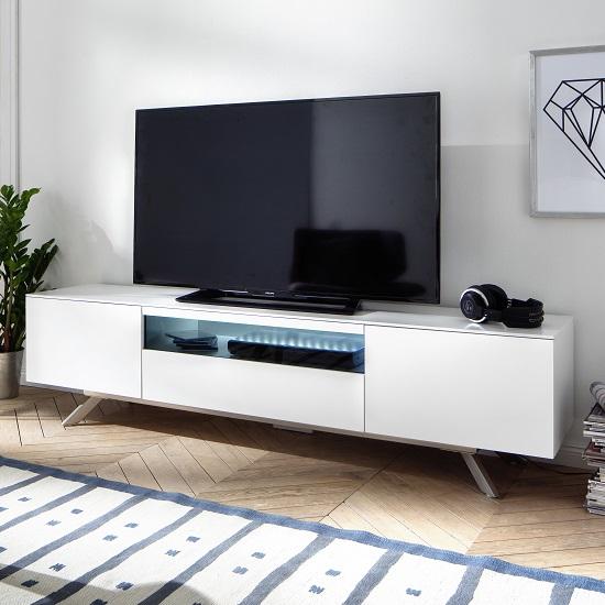 Beatrix Modern TV Stand In Matt White With LED Lighting