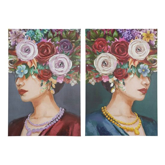 Beaty With Hat Picture Set Of 2 Canvas Wall Art In Multicolor