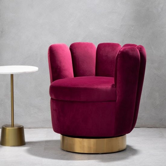 Bealie Velvet Bedroom Chair In Wine
