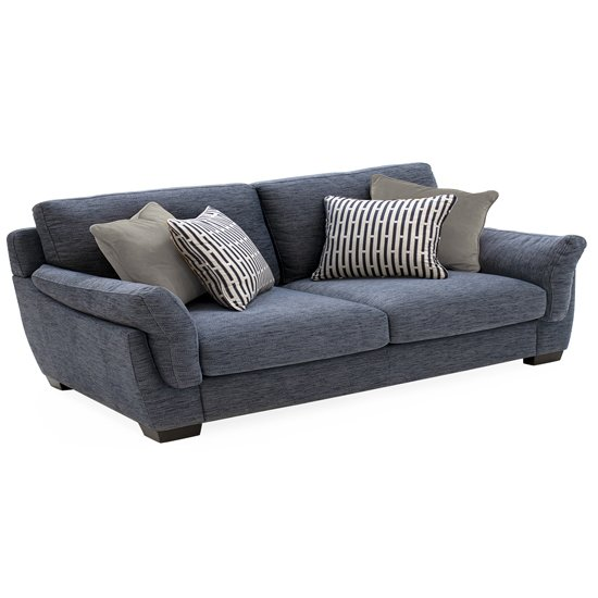 Beckett Fabric 3 Seater Sofa In Blue
