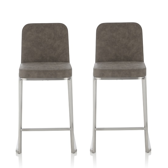Beckett Retro Bar Stool In Grey Faux Leather In A Pair