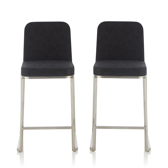 Beckett Retro Bar Stool In Black Faux Leather In A Pair