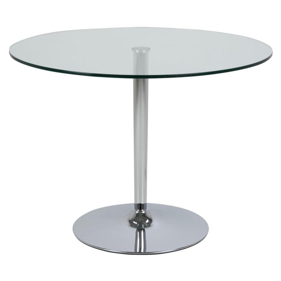 Beckin Clear Glass Top Dining Table With Chrome Metal Base