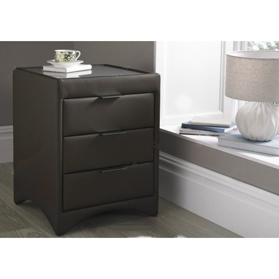 Becky Bedside Cabinet In Brown Bonded Leather With Glass Top