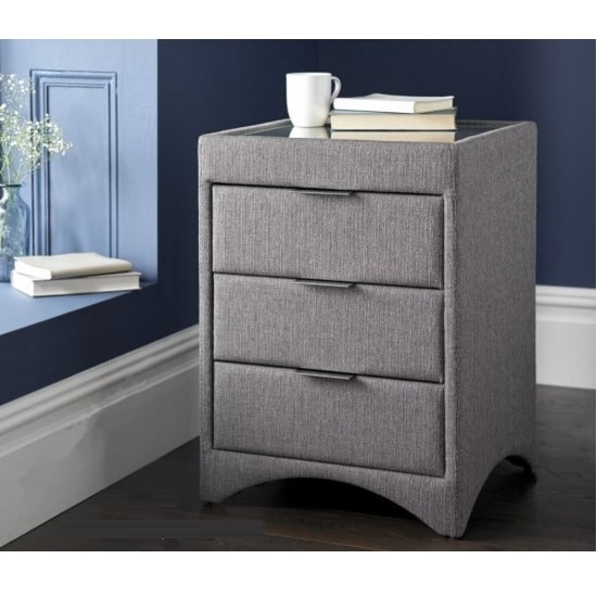 Becky Fabric Bedside Cabinet In Grey With Glass Top 34192