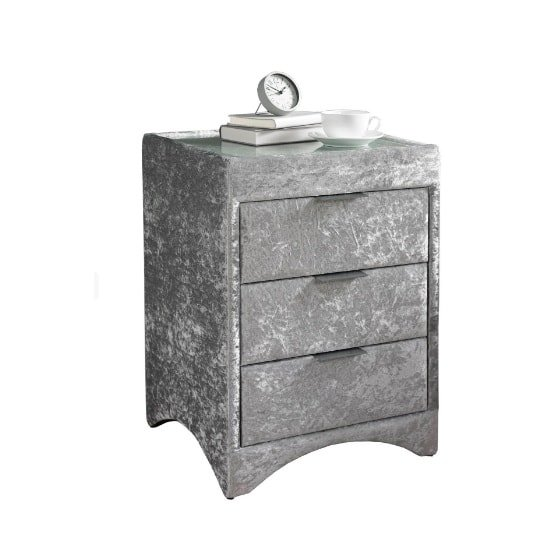 Becky Glass Top Bedside Cabinet In Crushed Velvet Silver Fabric