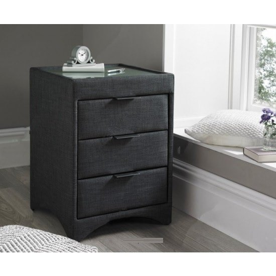 Becky Fabric Bedside Cabinet In Slate With Glass Top