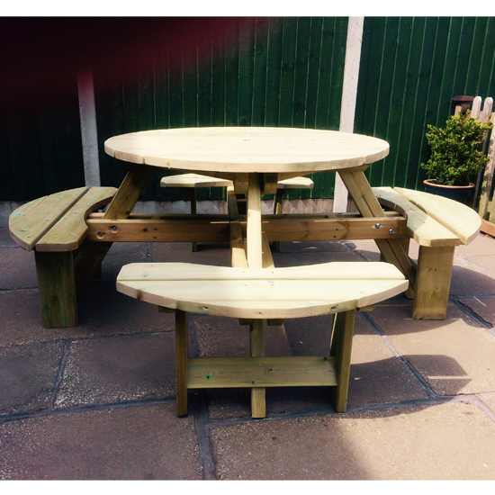 Becontree Round Wooden 8 Seater Picnic Dining Set