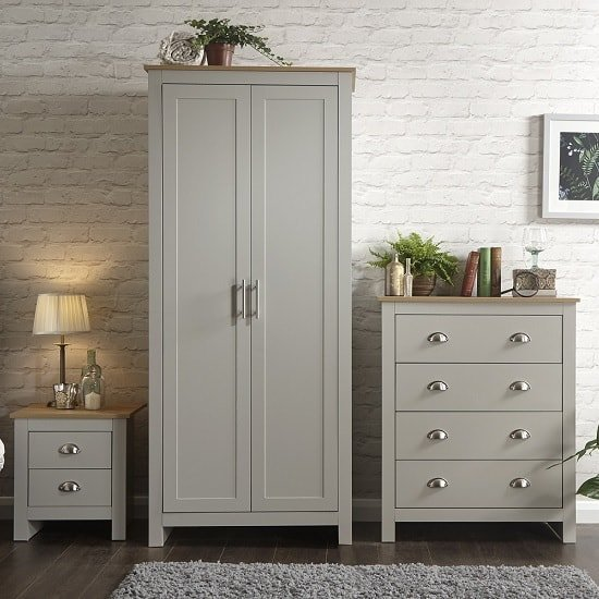 Valencia Trio Bedroom Furniture Set In Grey With Oak Top