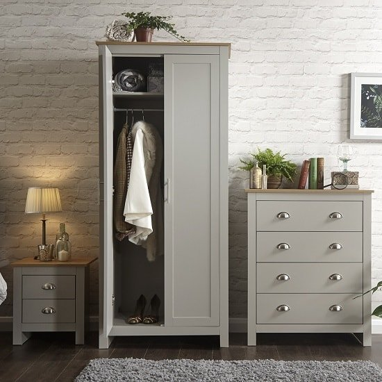 Valencia Trio Bedroom Furniture Set In Grey With Oak Top_2
