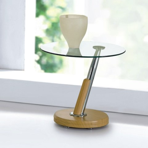 Tokyo Clear Glass Top Lamp Table In Beech