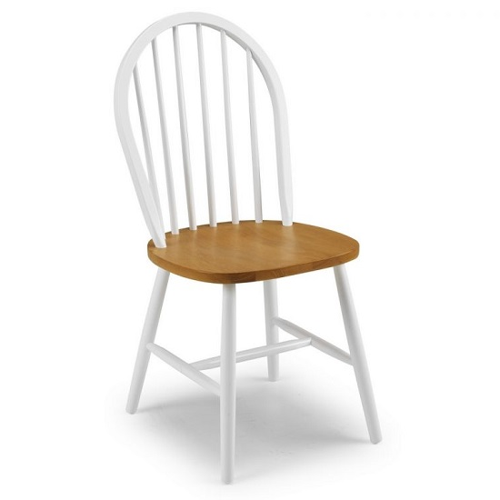 Beecher Wooden Dining Chair In White And Oak Lacquered