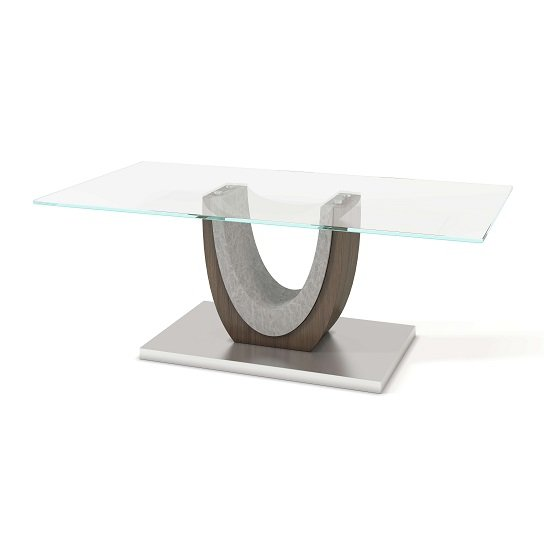 Beecroft Clear Glass Coffee Table With Brushed Stainless Base_1