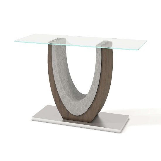 Beecroft Clear Glass Console Table With Brushed Stainless Base