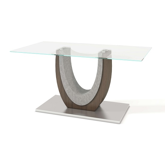 Beecroft Clear Glass Dining Table With Brushed Stainless Base