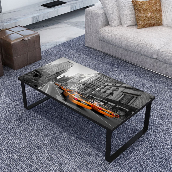 Beekhuis American Boulevard Patterned Glass Coffee Table In Grey
