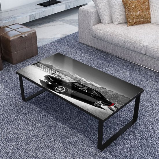 Beekhuis Car Patterned Glass Coffee Table In Grey