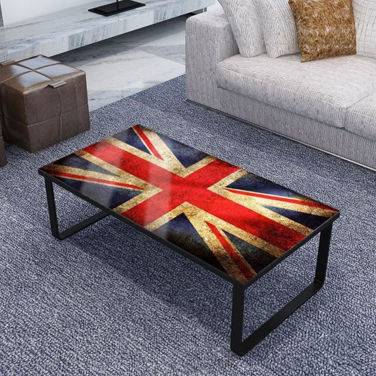 Beekhuis Flag Patterned Glass Coffee Table In Grey