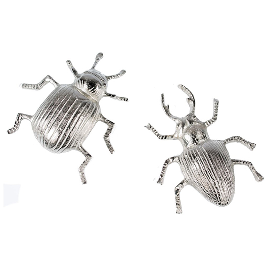Beetles Aluminium Set Of 2 Design Sculpture In Antique Silver