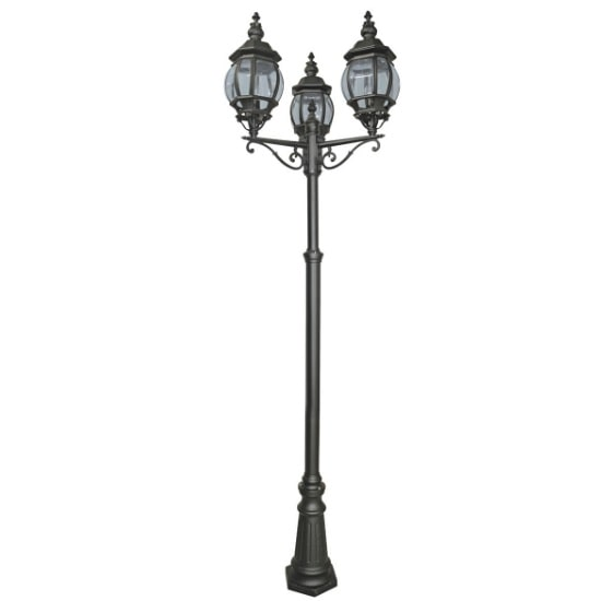 Bel Aire 3 Light Outdoor Post Lamp In Black With Clear Glass