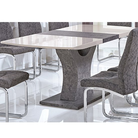 Belarus Extending Dining Table In High Gloss Cream And Stone