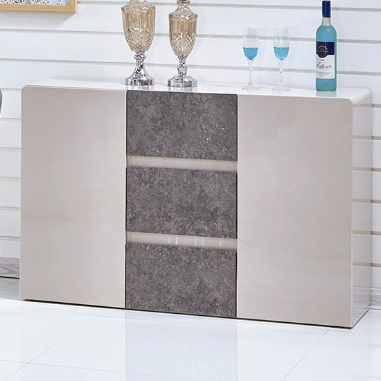 Belarus Wooden Sideboard In High Gloss Cream And Stone