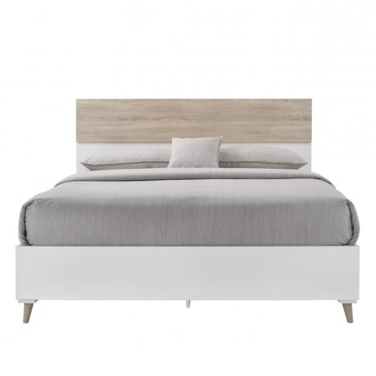 Belavo Wooden King Size Bed In Matt White And Sonoma Oak_2