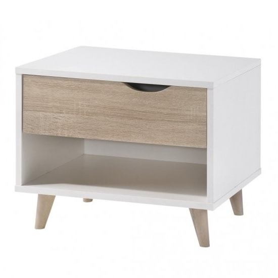 Belavo Bedside Cabinet In Matt White And Sonoma Oak