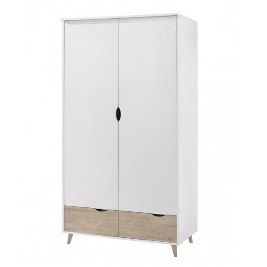 Belavo Wardrobe In White And Sonoma Oak With 2 Doors