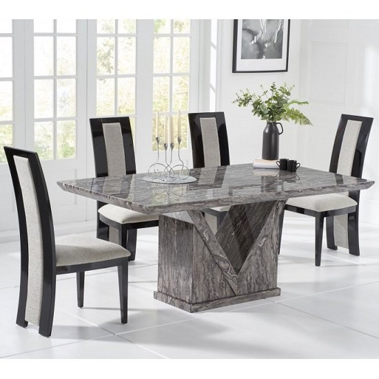 Belcher Large Grey Marble Dining Table With Six Allie Chairs